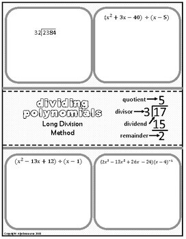Polynomial Division (Long & Synthetic) Doodle Graphic Organizer