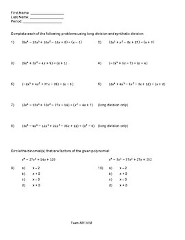 Polynomial Division:  Long and Synthetic Division