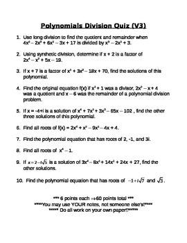 Polynomial Division Quiz #3
