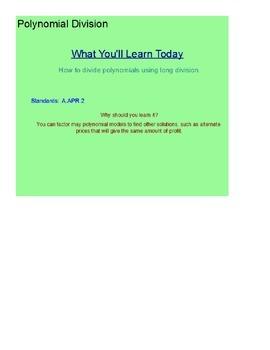 Polynomial Division SmartBoard Lesson