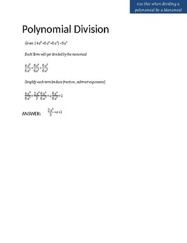 Polynomial Division (by a Monomial) Notes