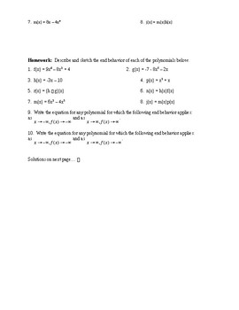 Polynomial End Behavior Guided Notes, Class Work, and Homework