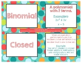 Polynomial Equations & Factors Vocabulary Cards