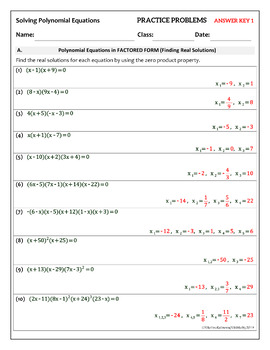 Polynomial Equations in Factored Form 50 Practice Problems Classified (3 types)