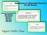 Polynomial Function Application Scenario - Pre-AP