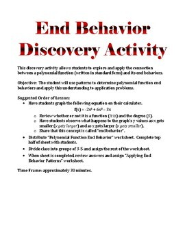 Polynomial Function End Behavior Discovery Activity