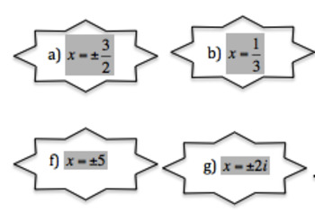Polynomial Functions Card Sort