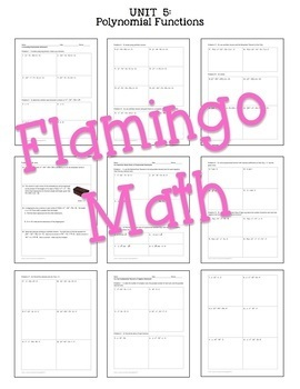 Algebra 2: Polynomial Functions & Equations Homework Bundle