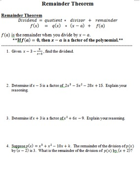 Polynomial Functions Guided Notes