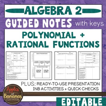 Polynomial Functions - Interactive Notebook Activities and Scaffolded Notes