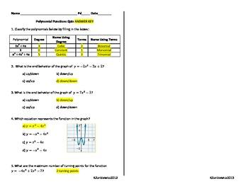 Polynomial Functions Quiz 1