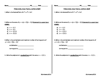 Polynomial Functions Quiz 2
