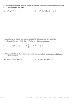 Polynomial Functions Test