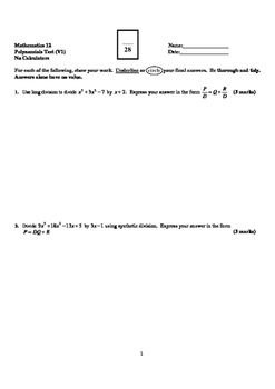 Pre-Calculus 12: Polynomial Functions Test (Version 1) - w
