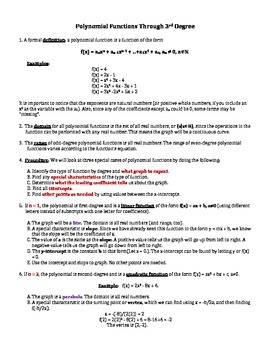 Polynomial Functions Through 3rd Degree