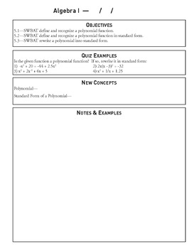 Polynomial Functions - Unit 5 Algebra Curriculum and Student Workbook