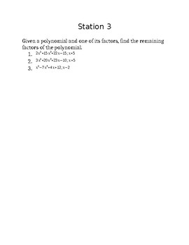 Polynomial Functions Unit Review - Stations