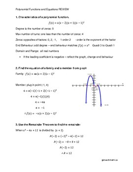 Polynomial Functions and Equations Review