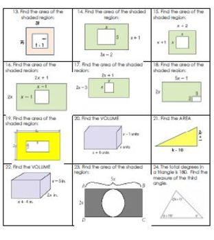 Polynomial Geometry Worksheet or Assessment - includes complete key
