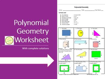 Polynomial Geometry Worksheet or Assessment - includes com