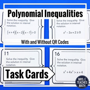Polynomial Inequalities Task Cards