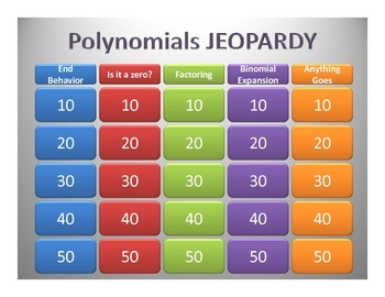 """Polynomial Jeopardy """"Common Core"""" Answers"""