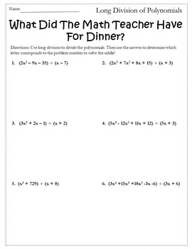 Polynomial Long Division Activity & Synthetic Division Activity Bundle