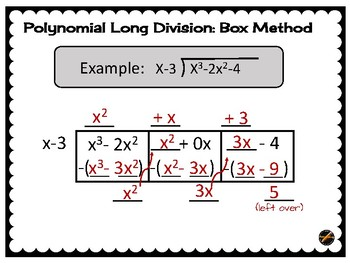 Polynomial Long Division: Box Method Poster