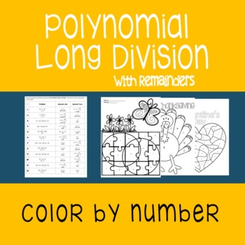 Polynomial Long Division {Color By Number}