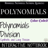 Polynomial Long and Synthetic Division Color Interactive Notebook for Algebra 2