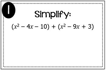 Polynomial Operations (Add, Subtract, Multiply) Triples Activity