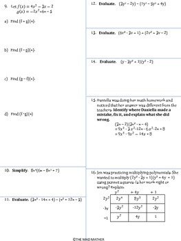Polynomial Operations Assessment-Addition, Subtraction &Multiplication (no prep)