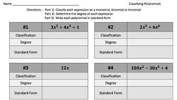 Polynomial Operations Bundle – 9 High Quality Activities!