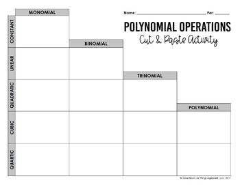 Operations with Polynomials - Cut and Paste Activity (includes classifying)