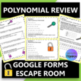 Polynomials (Add Subtract Multiply Divide) Digital Escape Room