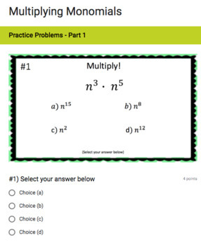Polynomial Operations Google Form Bundle – Perfect for Google Classroom!