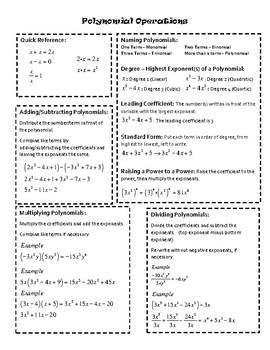 Polynomial Operations Summary