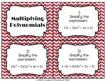 Adding, Subtracting, Multiplying Polynomials Task Card Bundle