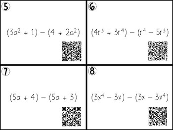 Polynomial Operations and Factoring Task Cards