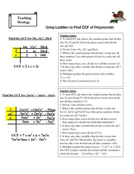 FACTOR POLYNOMIALS WITH GRAPHIC ORGANIZERS