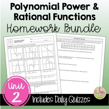 PreCalculus Polynomial Power and Rational Functions Homework Bundle