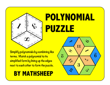 Polynomial Puzzle - Simplify Polynomials - Combine Like Terms