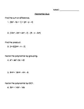 Polynomial Quiz