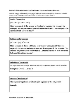 Polynomial & Rational Expression Poster Activity