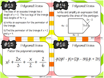 Polynomial Review Task Cards