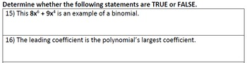 Polynomial Review Worksheet