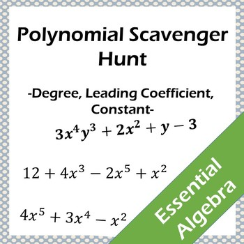 Polynomial Scavenger Hunt - Degree, Leading Coefficient and Constants