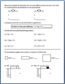 Polynomial Special Products (Guided Notes)
