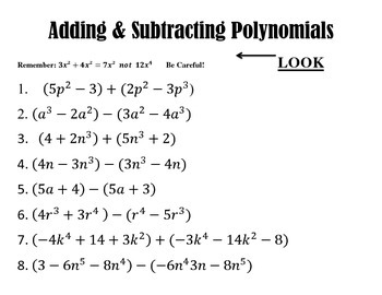 Polynomial Stations: Adding/ Subtracting and Multiplying