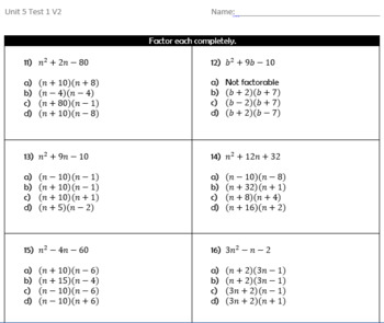 Operations with Polynomial Test and Study Guide